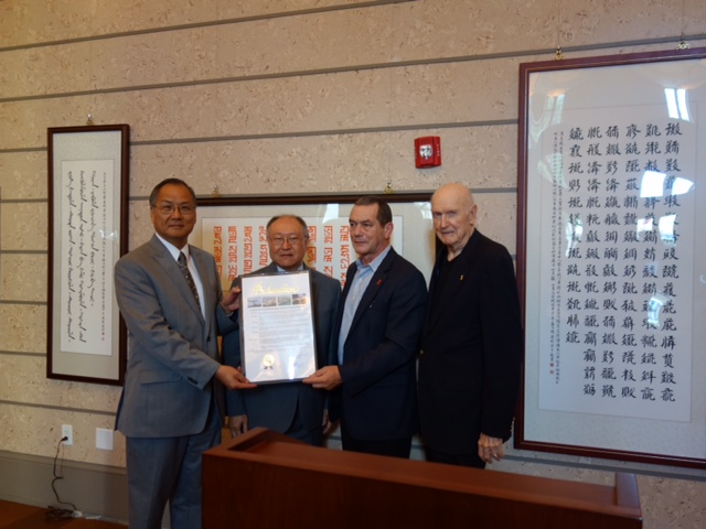 Philip Wang-Director General at Taipei Economic & Cultural Office in Miami; David Muh, Ph.D.- President of CASPAF; Rene Diaz-Director, Office of Community Advocacy, Miami-Dade County; and George Corrigan-Coral Gables Former Mayor