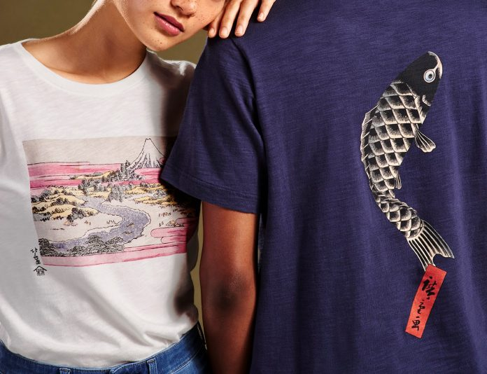 UNIQLO's Edo Ukiyo-e UT Graphic Tee Collection incorporates designs from works by Hokusai (left) and Hiroshige (right), drawn from the MFA's collection