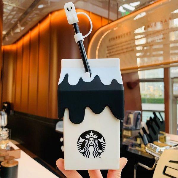 NEW Starbucks Cute Milk Carton Glass W// Straw Mug Korea Cup LimitedEdition 400ml