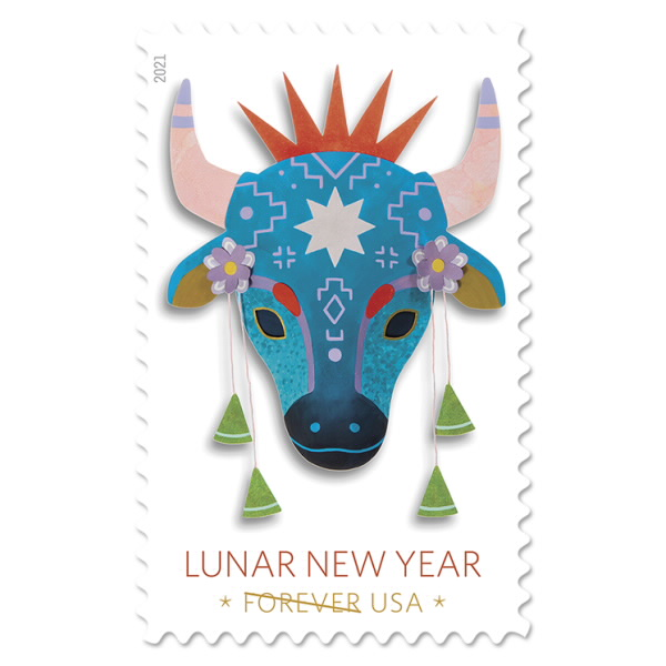 Us Christmas Stamps 2021 Celebrates Lunar New Year With Year Of The Ox Stamps Asia Trend