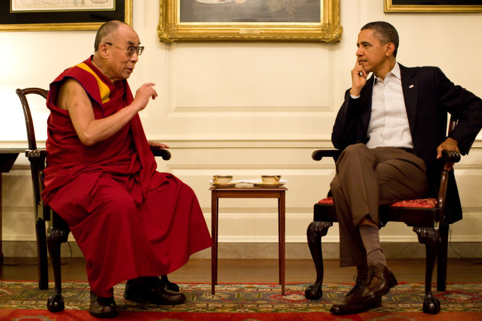 President Barack Obama meets with His Holiness the XIV Dalai Lama in the White House, July 16, 2011. (Official White House Photo by Pete Souza)