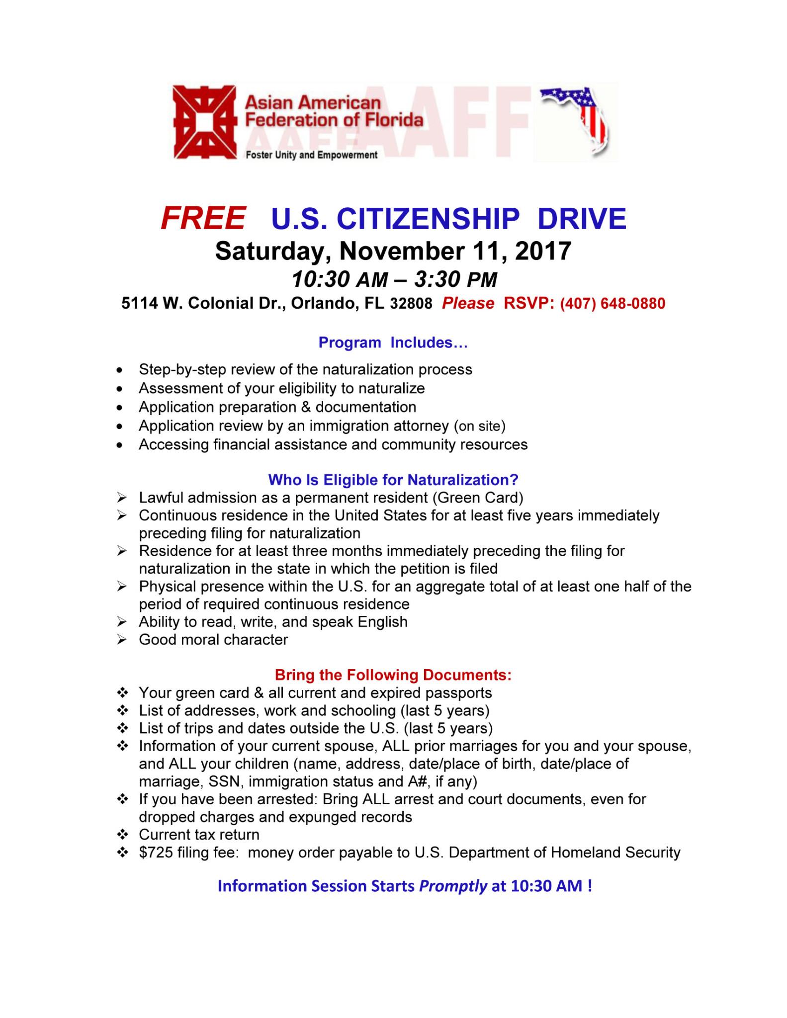 U.S. CITIZENSHIP DRIVE
