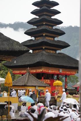 Temple Pura Ulun Danu Bratan in a lake in Bali