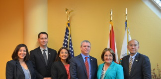 Mayor Jacobs and members of her staff met with Paul Mitchell of Enterprise Florida (left), United States Ambassador to the Republic of Singapore Kirk Wagar (center) and John Diep of Enterprise Florida (right) to discuss economic opportunities for local companies in Singapore.