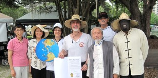"Orlando Tai Chi enthusiasts ""happy"" with the signed proclamation, and to be a part of this ""World Wide Event""! Sifu Sam Winters (Organizer) Welcoming all participants to ""the event"""