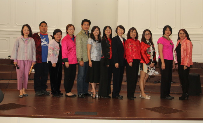 (from Lt to Rt) Honorable Advisor Angie Chow, Director John Chung, Director/School Board Chair Pauline Ho, Immediate Past President Shally Wong, Vice President Raymond Lam, Vice President Joanna Kiang, President Susan Hoeh, Treasurer Nieping Peng, Direct/Principal Tsuey Ing Lavender, Director Sandra Chen, Director Amy Anderson and Honorable Advisor/Legal Advisor Agnes Chau Secretary Michael Yu (not present)
