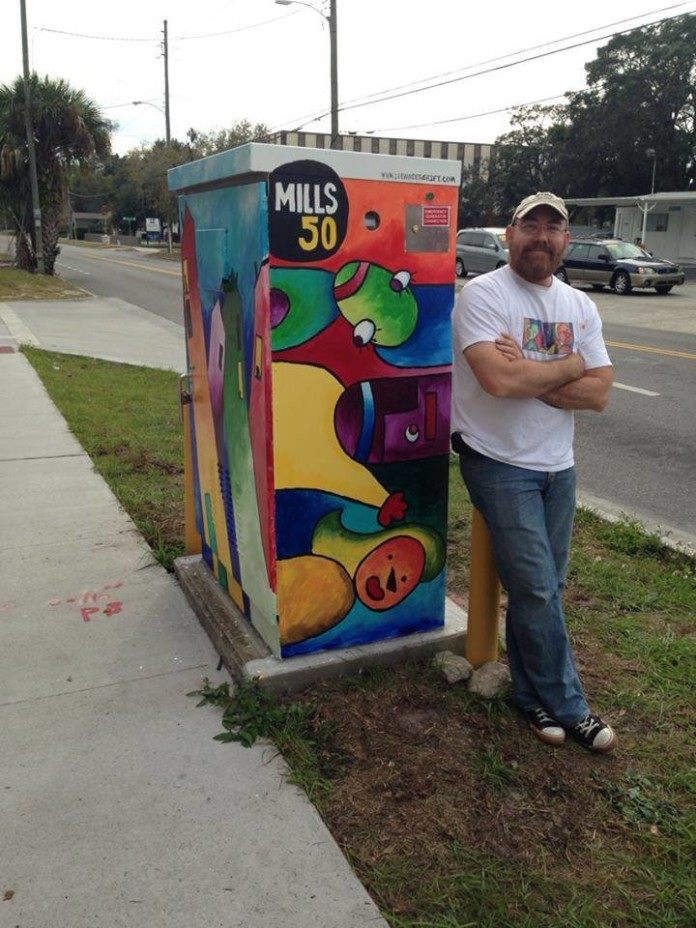 The art box, painted by Lee Vandergrift, includes color, creativity and fun.