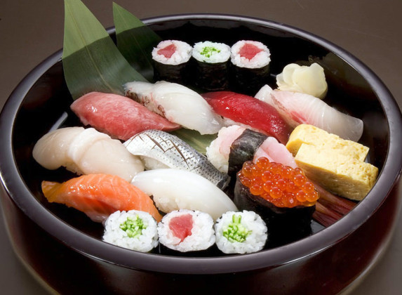 Sushi presented in an authentic style